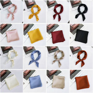 Women-Solid-Vintage-Square-Silk-Feel-Satin-Scarf-Skinny-Head-Neck-Hair-Tie-Band