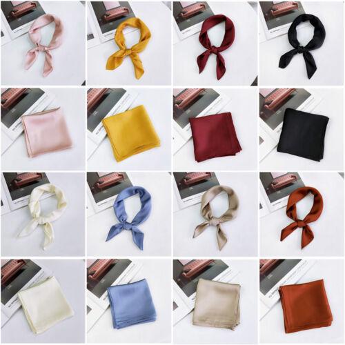 Elegant Vintage Silk Square Scarf Small Plain Neckerchief Head Neck Headband UK