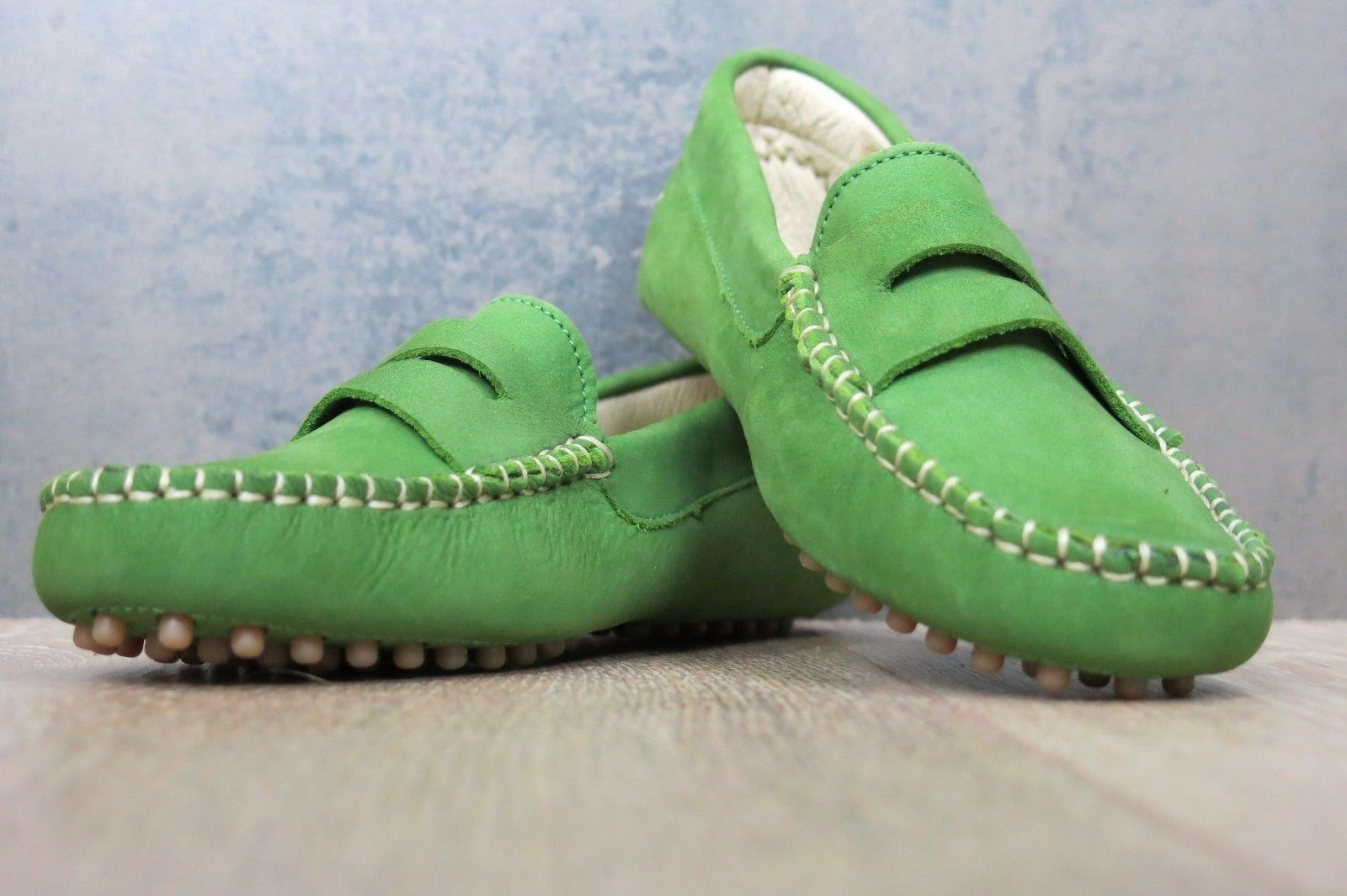 FRENCH SOLE Driving Leder Schuhes UK 2.5-3 Eu35 GREEN Nubuck Leder Driving Moccasin Flats fde3ad