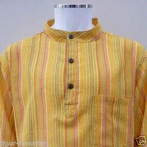 New-Hippy-Cotton-Casual-Grandad-Shirt-in-Yellow-Orange-Stripes-UNISEX-Boho