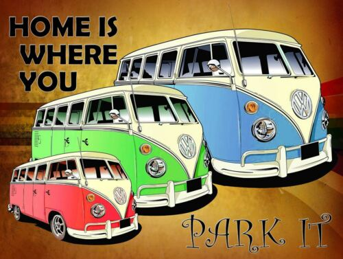 VW HOME IS WHERE YOU Retro Metal Plaque//Sign Man Cave, Bar Pub