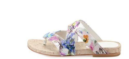 NEW Donald J Pliner FLIP Thong Sandal Leather Floral Cork Womens Sz 9 9.5