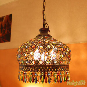 Bohemian Style Iron Color Crystal Pendant Lamp Chandelier