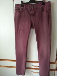 ESPRIT-Damen-Hose-Jeans-Brombeerfarbig-Gr-32-Used-Look-Five-Pocket-Stil