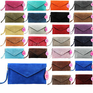Ladies-Envelope-Clutch-Evening-Genuine-Leather-Real-Suede-Cross-body-Bag