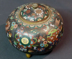 B 18èm Japon Pot Couvert 270g 13cm Cloisonné émail émaux Jardin Cuivre Déco Pour RéDuire Le Poids Corporel Et Prolonger La Vie