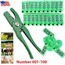 001 100 Ear Tags 185cm Cattle Sheep Pig Livestock Label Set Animal Id With Plier