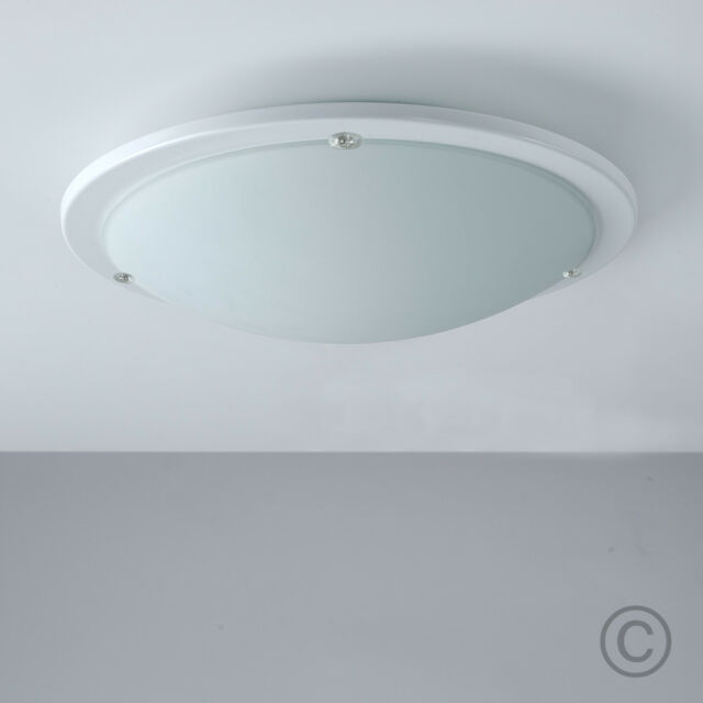 MiniSun Modern Design White Frosted Glass Round Flush Bathroom ...