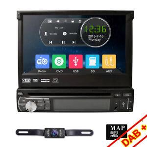 7-034-Touch-Screen-1-Din-Flip-Up-Car-DVD-Player-GPS-Sat-Nav-Radio-Bluetooth-Stereo