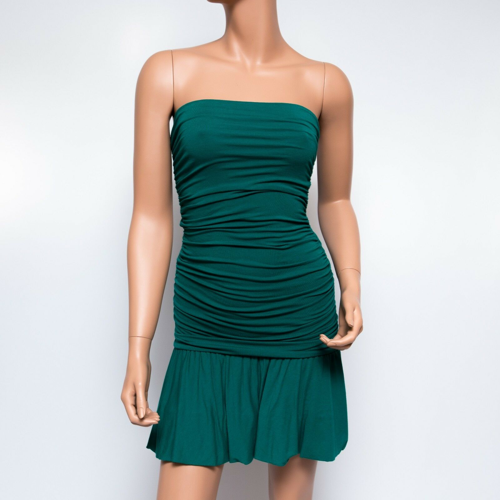 BCBGmaxazria Emerald Grün Strapless Ruched Bodycon Mini Dress  XS