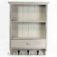 WOODEN FRENCH VINTAGE SHELF UNIT WITH DRAWER SHABBY CHIC WALL STORAGE UNIT WHITE