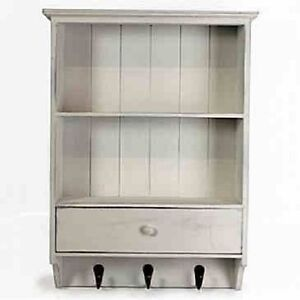 WOODEN-FRENCH-VINTAGE-SHELF-UNIT-WITH-DRAWER-SHABBY-CHIC-WALL-STORAGE-UNIT-WHITE