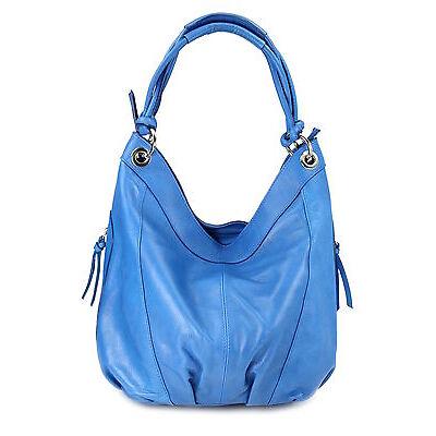 BELLI® ital Nappaleder Shopper Beuteltasche blau Damentasche butterweich