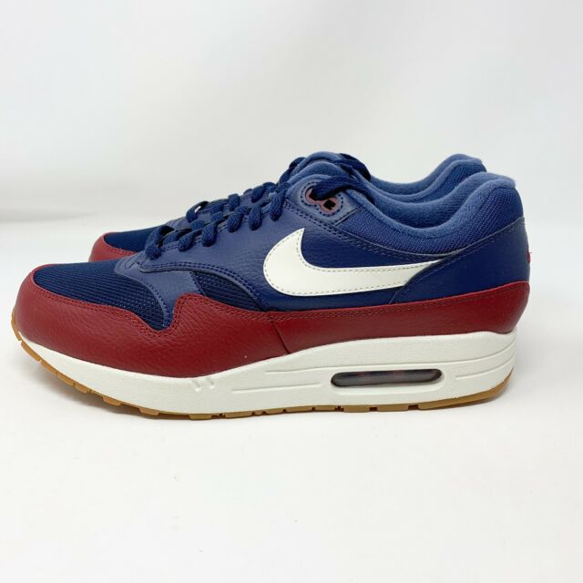 Nike Air Max 1 Mens AH8145 400 Navy Blue Team Red Sail Running Shoes Size 9.5
