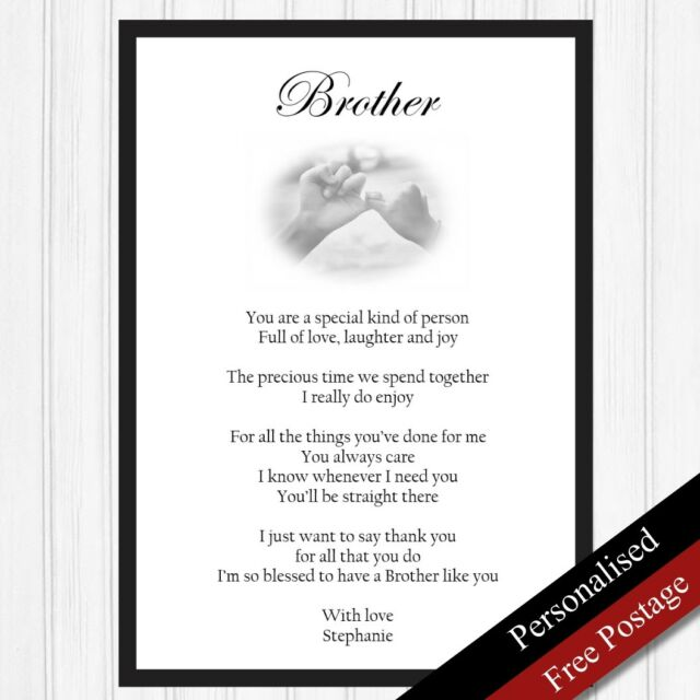 Brother Gift Personalised Gifts For Birthday Keepsake Poem PRINT ONLY
