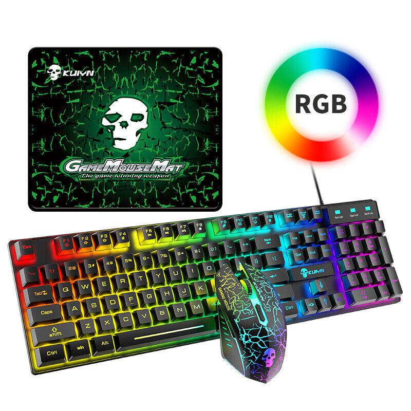 Wired Gaming Keyboard & Mouse Set Backlit Mechanical Keyboard for PC UK Seller