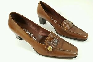ecad0894bb7 Image is loading Pitillos-brown-leather-mid-heel-shoes-uk-4-