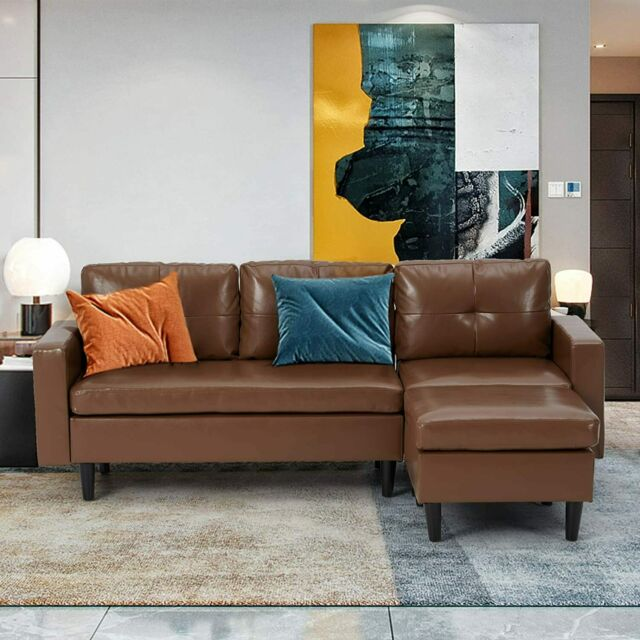 Faux Leather Sectional Sofa L-Shape Couch with Chaise Lounge,Small Couch 5Colors