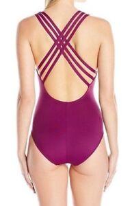 La-Blanca-Island-Goddess-Multi-Strap-Cross-Back-One-Piece-Swimsuit-Crab-Size-16
