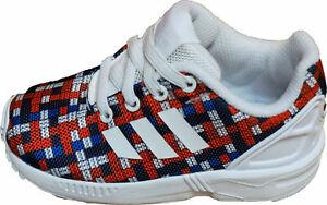 Adidas-Originals-ZX-Flux-I-Running-Shoes-Infant-Slip-on-White-Red-Black-size-5
