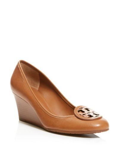 Nuevo En En En Caja cuña de cuero con el logotipo de tory burch Louisa Zapatos Royal tan 10.5 M  el precio más bajo