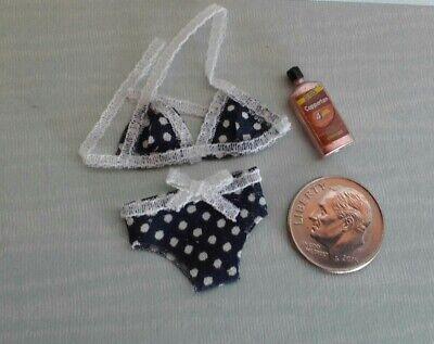 Dollhouse Miniature Pink Polka Dot Bikini /& Sunscreen 1:12 scale