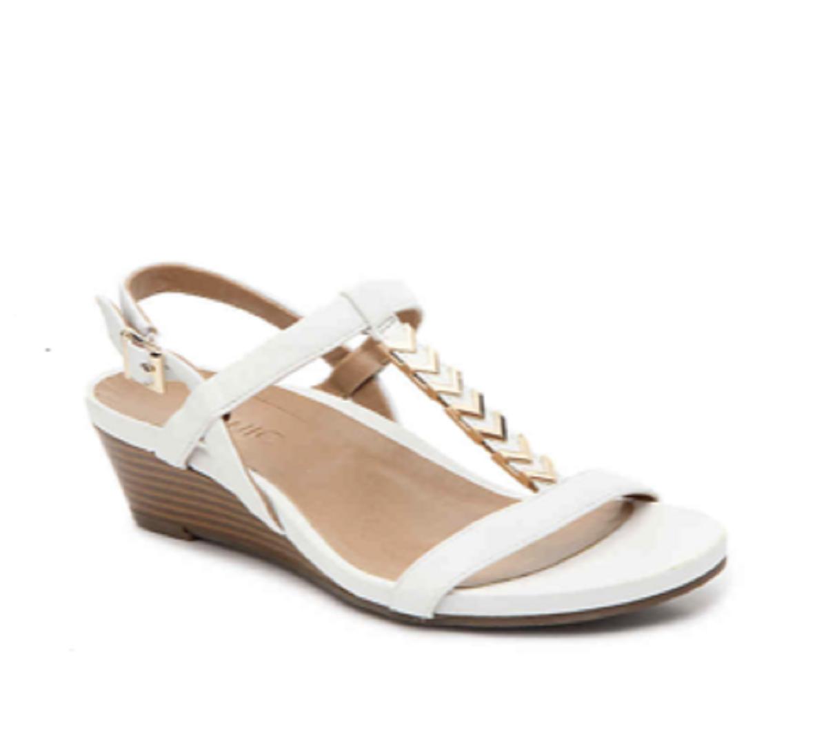 Vionic Women Cali T Strap Leather gold gold gold Hardware Wedge Sandals WHITE Sz 9M NIB a9da5a