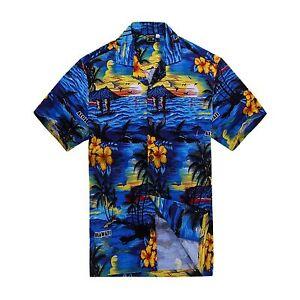Men-Tropical-Hawaiian-Aloha-Shirt-Cruise-Luau-Beach-Party-Blue-Scenic-View-Palm