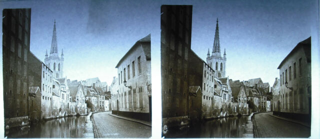 Placa foto estereoscópica fotografía Bélgica Bélgica Bruselas Ghent ? c1930
