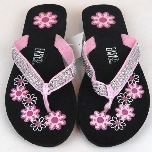 Women/'s Flower Print w// Rhinestones Look Flip Flops Sandals Shoes Sizes 6-11 New
