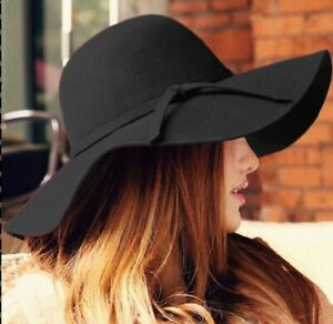 Fashion-Women-Ladies-Black-Floppy-Wide-Brim-Wool-Felt-Bowler-Beach-Hat-Sun-Cap