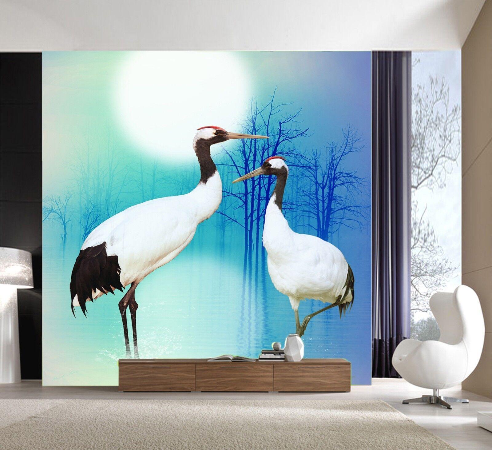 3D Crane Blau 7147 Wallpaper Mural Wall Print Wall Wallpaper Murals US Lemon