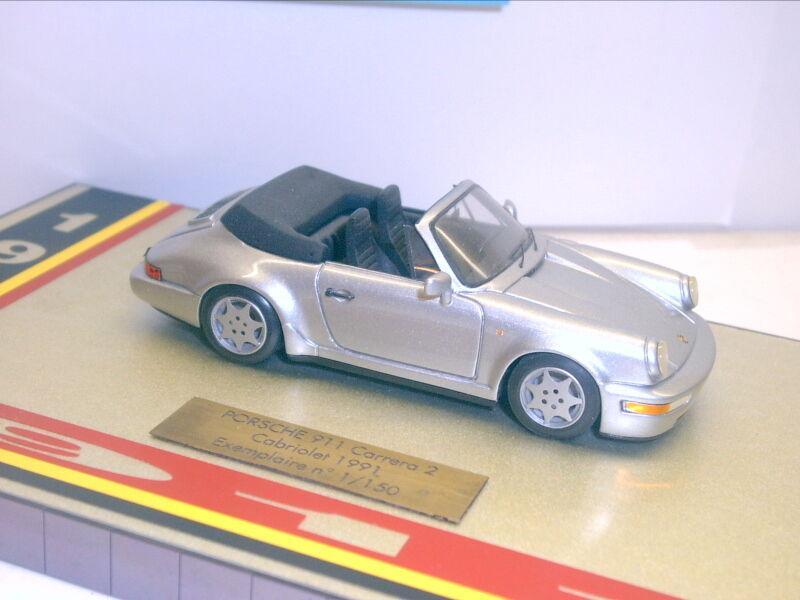 Miniatures TU Chateau; Porsche 911 Carrera 2 Cabriolet, 1991, argent Met. (368)
