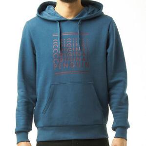ORIGINAL-PENGUIN-Denim-Blue-Mens-Hoody-Kangaroo-Double-Layer-Hood-Rib-Trim-BNWT