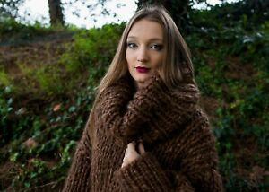 d9976de6d2 Image is loading Brown-Longhair-mohair-Sweater-Extra-Chunky-T-neck-