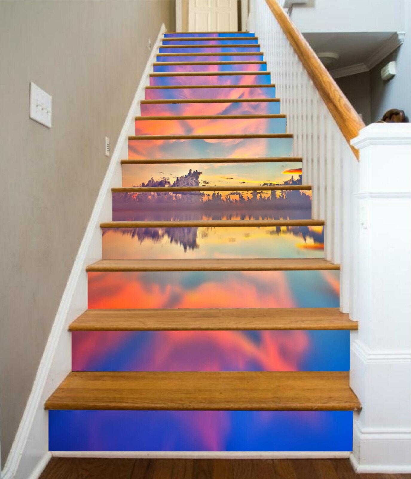 3D Farbe Meer 032 Stair Risers Dekoration Fototapete Vinyl Aufkleber Tapete DE