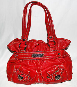 c2e995c138 Kathy Van Zeeland Red Faux Leather Multi Pocket Shoulder Bag with ...