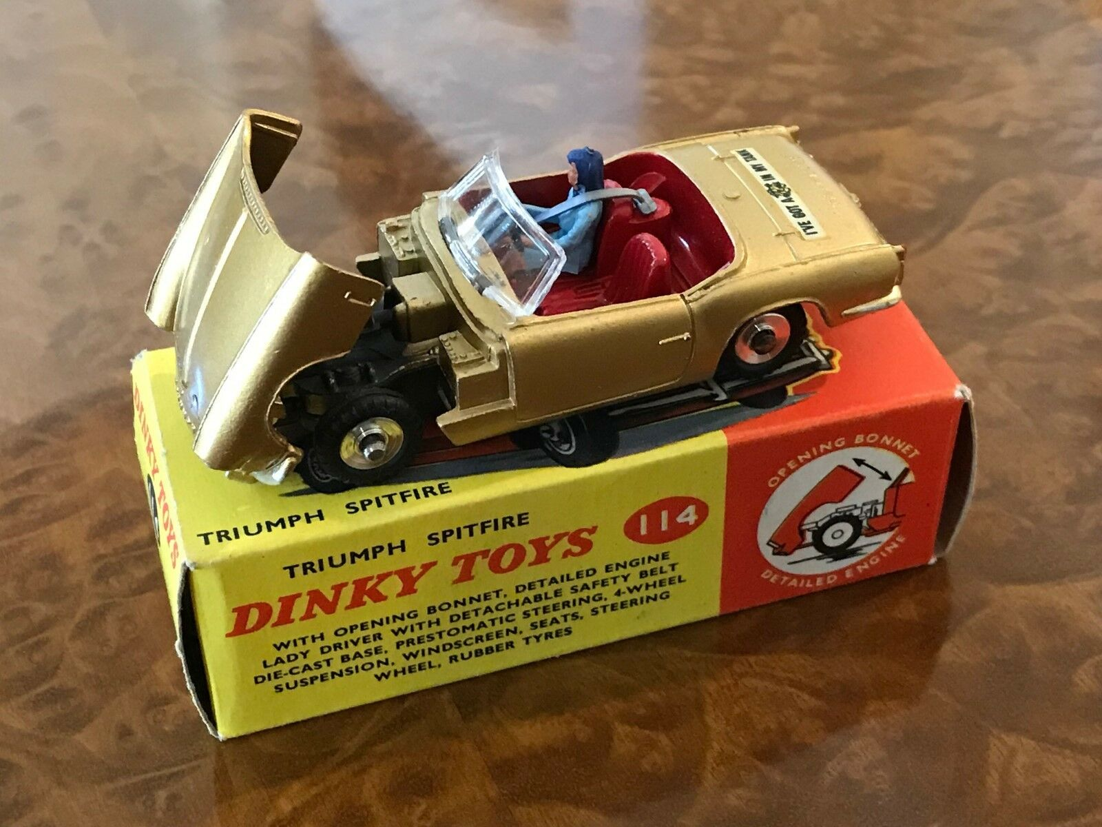 Vintage Dinky Toys MIB Triumph Spitfire Gold Metallic No. 114