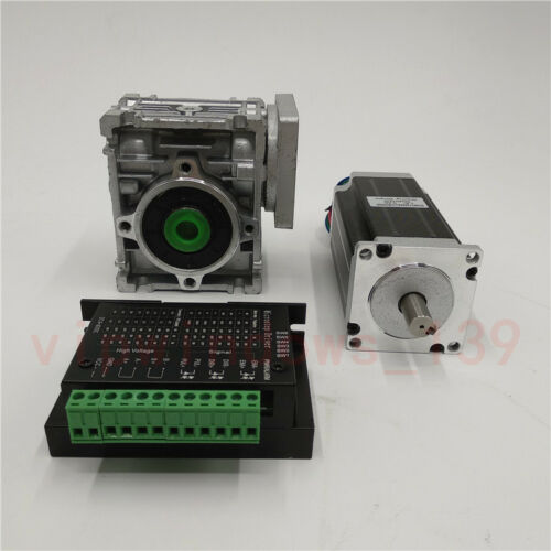 Nema23 18NM Worm Gear Stepper Motor Driver Kit 10:1 Speed Reducer For CNC Router