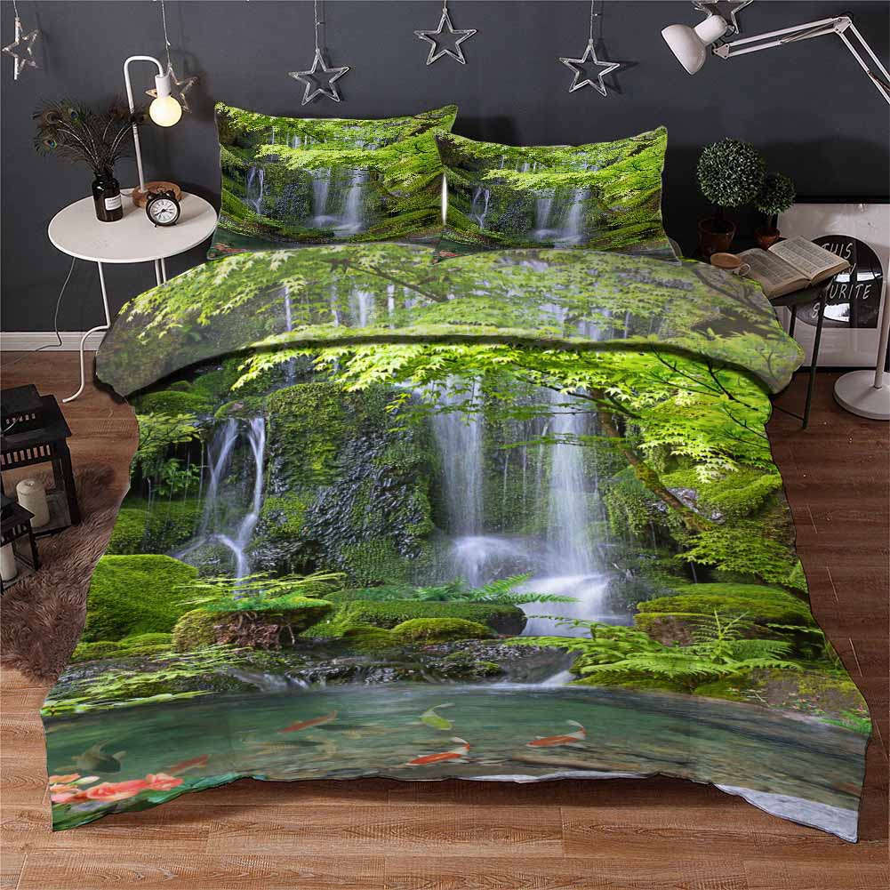 Grün Forest Water 3D Printing Duvet Quilt Doona Covers Pillow Case Bedding Sets