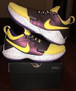 new style d4450 594fa Details about Nike PG 1 Paul George ID Purple Yellow 11.5 2 3 LSU 4 5 6 7  NASA Zion 2.5 11 OKC