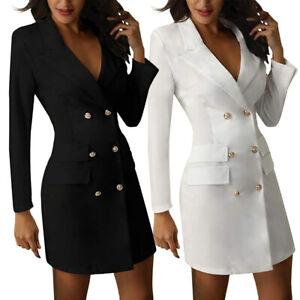Femme-Longues-Manches-Col-en-V-Double-Boutonnage-Blazer-Robe-Bureau-Travail