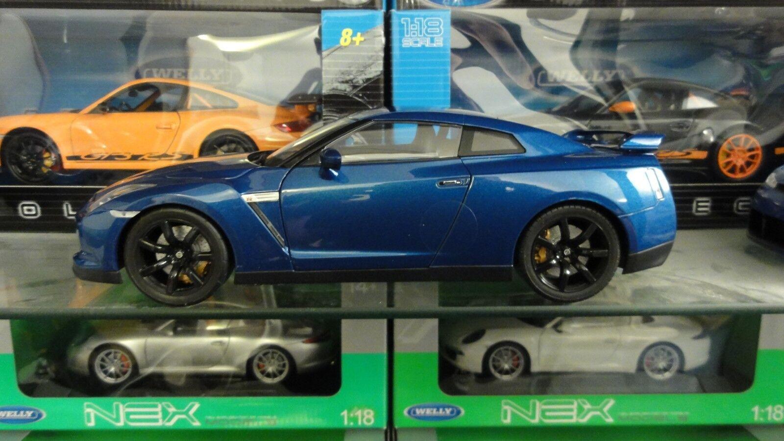 Nissan GTR R35 Bleu 1 18 - NOREV