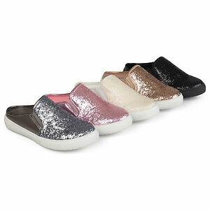 ea5015f0cbe34 Details about Brinley Co Womens Glitter Faux Leather Slide Sneakers Slip On  New