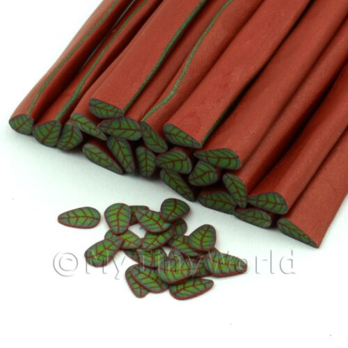 Nail Art 3x Handmade Green Leaf With Copper Canes 11nc77