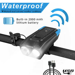 2000mAh USB Rechargeable Bike Headlight LED Bicycle Head Light Cycling With Horn