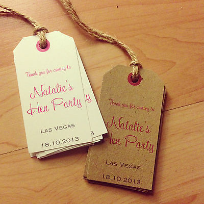 24 Vintage Personalised Hen Night Favour Tags, for sweets, candy