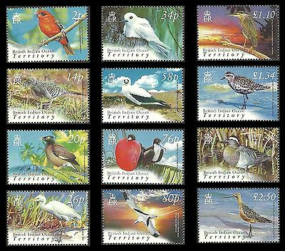 BIOT BRITISH INDIAN OCEAN 2004 BIRDS GODWIT TEAL PLOVER HERON MYNAH SET MNH