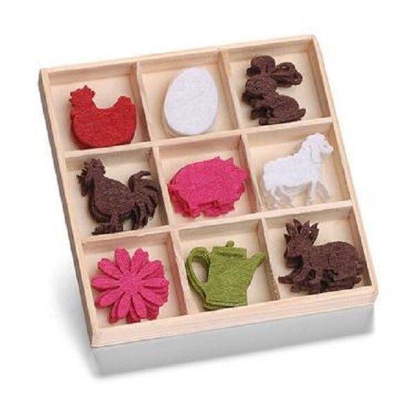 Scatola da 45 Feltro Forme Ornamenti Uova, Pollo, Pork 8001 226