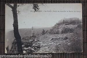 Tarjeta-postal-antigua-GOURDON-La-Cruz-Para-de-vista-en-el-barranco-Lobo